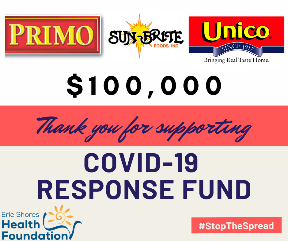 Sun-brite Foods Inc. and its subsidiaries Primo and Unico have partnered with the Erie Shores Health Foundation and donated $100,000 in support of their COVID 19 Response Fund.